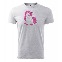 Obrázek Pánské Tričko Classic New - Fantasy - Unicorn, vel. S - šedý melír