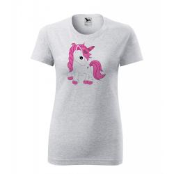 Obrázek Dámské Tričko Classic New - Fantasy - Unicorn, vel. S - šedý melír