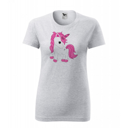 Obrázek Dámské Tričko Classic New - Fantasy - Unicorn, vel. S , šedý melír