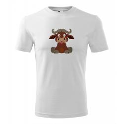 Obrázek Pánské Tričko Classic New - Veselá zvířátka - Buvol, vel. S , bílá