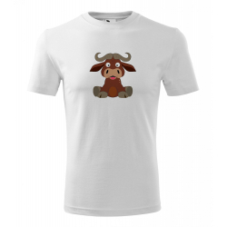 Obrázek Pánské Tričko Classic New - Veselá zvířátka - Buvol, vel. S - bílá