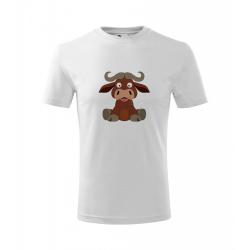 Obrázek Dětské Tričko Classic New - Veselá zvířátka - Buvol, vel. 6 let , bílá