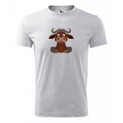 Obrázek Pánské Tričko Classic New - Veselá zvířátka - Buvol, vel. S , šedý melír