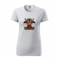 Obrázek Dámské Tričko Classic New - Veselá zvířátka - Buvol, vel. S , šedý melír