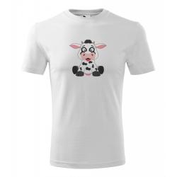 Obrázek Pánské Tričko Classic New - Veselá zvířátka - Kráva, vel. S , bílá