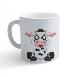 Obrázek Hrnek Veselá zvířátka - Kráva - třpytivý stříbrný