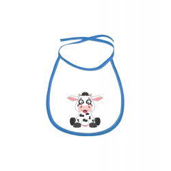 Obrázek Dětský bryndák Veselá zvířátka - Kráva - modrý