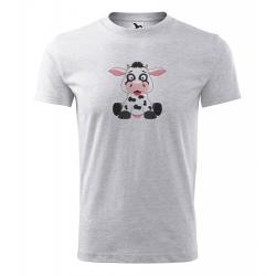 Obrázek Pánské Tričko Classic New - Veselá zvířátka - Kráva, vel. S , šedý melír