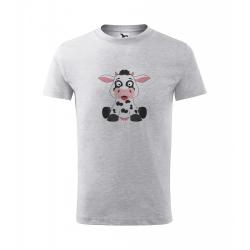 Obrázek Dětské Tričko Classic New - Veselá zvířátka - Kráva, vel. 6 let , šedý melír