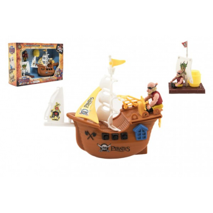 Pirátská loď + doplňky plast v krabici 28x19cm - Cena : 207,- Kč s dph