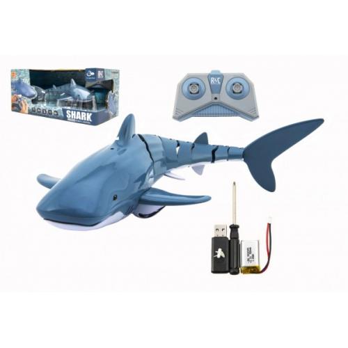 Žralok RC plast 35cm na dálkové ovládání +dobíjecí pack v krabici 38x17x20cm - Cena : 620,- Kč s dph