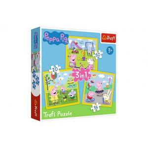 Puzzle 3v1 Prasátko Peppa/ Peppa Pig Šťastný den prasátka v krabici 28x28x6cm - Cena : 98,- Kč s dph