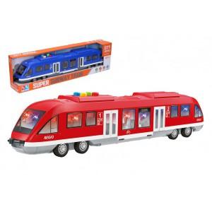 Metro/vlak/tramvaj plast 44cm na baterie se světlem se zvukem 2 barvy v krabici 46x12,5x7,5cm - Cena : 519,- Kč s dph