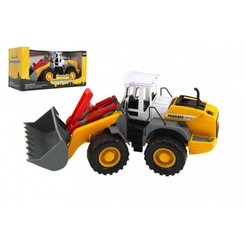 Stavební stroj nakladač/bagr plast 36cm na setrvačník v krabici 39x20x17cm - Cena : 386,- Kč s dph