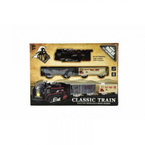 Vlak + vagónky a koleje plast na baterie se světlem v krabici 30x22x4cm - Cena : 205,- Kč s dph