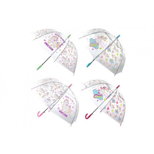 Deštník jednorožci průhledný vystřelovací - Cena : 125,- Kč s dph