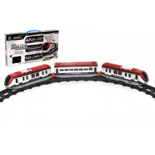 Vlak s kolejemi délka dráhy 308cm s doplňky plast na baterie se světlem v krabici 48x26x5cm - Cena : 449,- Kč s dph