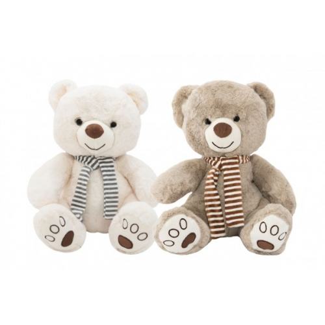 Medvěd sedící se šálou plyš 29cm 2 barvy v sáčku 0+ - Cena : 186,- Kč s dph