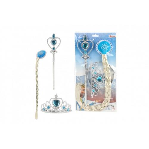Sada krásy plast korunka,žezlo,cop Ledová princezna na kartě 19x35x1cm - Cena : 159,- Kč s dph