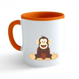 Hrnček Veselá zvieratká - Šimpanz - oranžový 330ml - Cena : 169,- Kč s dph