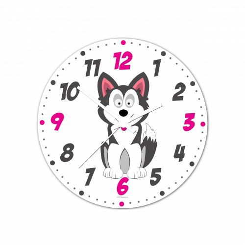 Nástenné hodiny Veselá zvieratká - Husky - 30 cm - Cena : 499,- Kč s dph