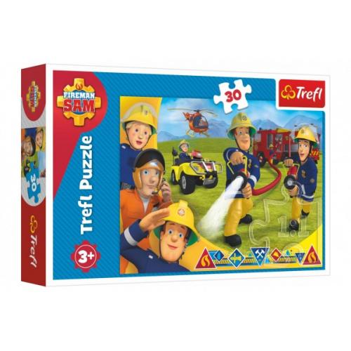 Puzzle Požárník Sam/Připraveni pomoct 30 dílků 27x20cm v krabici 21x14x4cm - Cena : 89,- Kč s dph