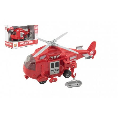 Vrtulník záchranářský plast 21cm na setrvačník na bat. se světlem se zvukem v krabici 24x15,5x11cm - Cena : 197,- Kč s dph