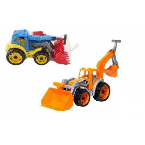 Traktor/nakladač/bagr se 2 lžícemi plast na volný chod 2 barvy v síťce 16x35x16cm - Cena : 152,- Kč s dph
