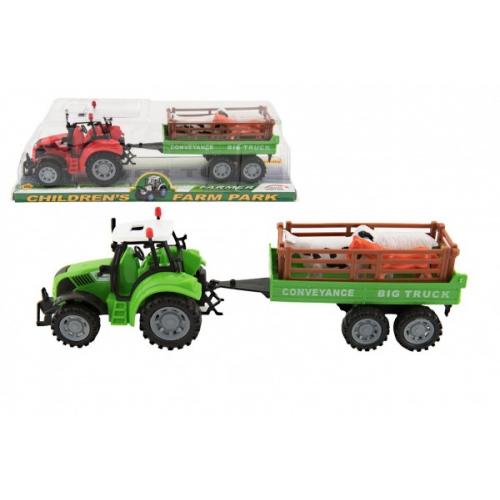 Traktor s vlekem a zvířátky plast 34cm na setrvačník 2 barvy v blistru - Cena : 161,- Kč s dph