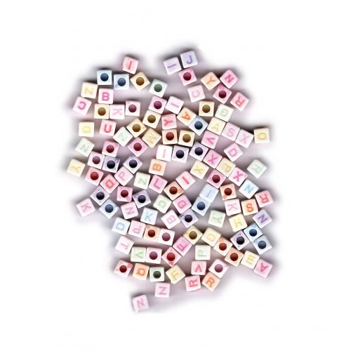 Plastové korálky abeceda, 300 ks, 6 mm - Cena : 71,- Kč s dph