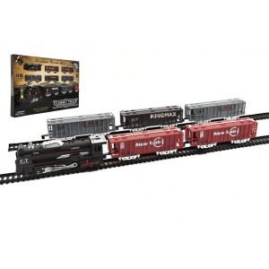 Vlak + 5 vagónů s kolejemi plast 140x68cm na baterie se světlem v krabici 57x37x4cm - Cena : 254,- Kč s dph