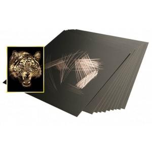Škrabací folie zlatá 22,9 x 15,2 cm 10 ks - Cena : 179,- Kč s dph
