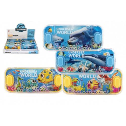 Vodní hra hlavolam 15x7cm plast mořský svět 4 druhy 24ks v boxu - Cena : 53,- Kč s dph