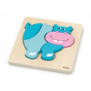 Dřevěné puzzle pro nejmenší - hroch - Cena : 82,- Kč s dph