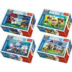 Minipuzzle Tlapková Patrola/Paw Patrol 54dílků - 4 druhy  9x6x3cm 40ks v boxu - Cena : 54,- Kč s dph