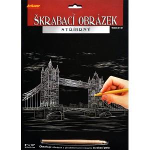 Škrabací obrázek stříbrný 20x25 cm - Tower Bridge - Cena : 99,- Kč s dph