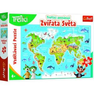 Vzdělávací puzzle 48 - Treflíci poznávají zvířata světa - Cena : 199.9,- Kč s dph