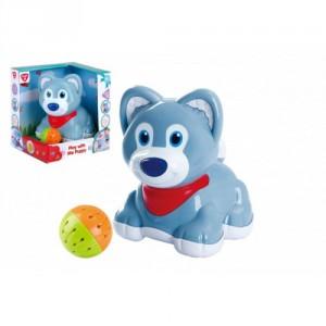 Pes/pejsek s míčkem plast na baterie se zvukem v krabici 19x20x16cm 6m+ - Cena : 476,- Kč s dph