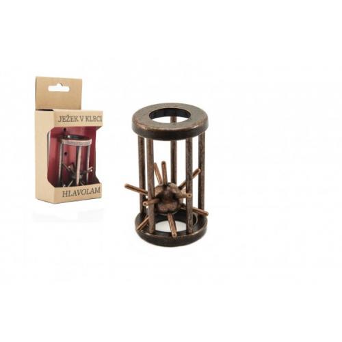 Hlavolam ježek v kleci kovový hnědý 4,5x7,5cm v krabičce 7,5x16x5cm - Cena : 185,- Kč s dph