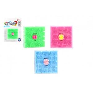 Bludiště/Labyrint hlavolam plast 7x7cm 3 barvy na kartě - Cena : 43,- Kč s dph