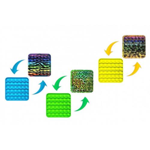 Bubble pops - Praskající bubliny silikon antist. spol. hra  4 barvy zvířecí vzor 12,5x12,5cm v sáčku - Cena : 125,- Kč s dph