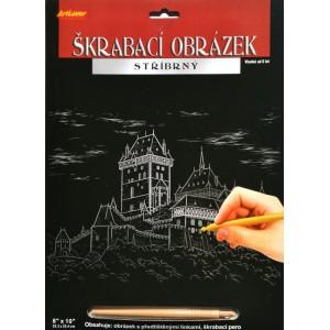 Škrabací obrázek stříbrný 20x25 cm - Karlštejn - Cena : 99,- Kč s dph