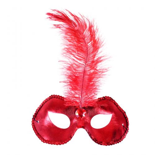 Červená škraboška / maska s pírkem - Cena : 79,- Kč s dph