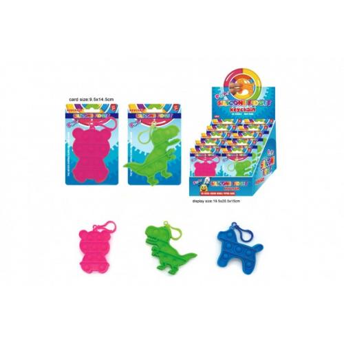 Přívěšek Bubble pops-Praskající bubliny silikon antistr. spol. hra 3druhy na kartě 10x15cm 24ks box - Cena : 80,- Kč s dph
