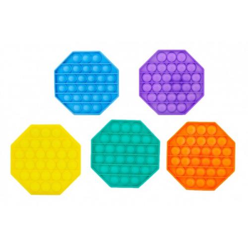 Bubble pops - Praskající bubliny silikon antistresová spol. hra 5 barev osmihran 12x12cm v sáčku - Cena : 89,- Kč s dph