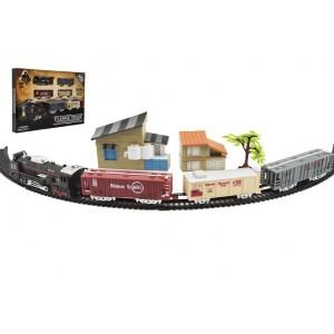 Vlak + 3 vagóny s kolejemi s doplňky plast 104x68cm na baterie se světlem v krabici 46x32x5cm - Cena : 274,- Kč s dph