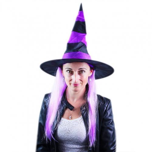 klobouk čarodějnice s vlasy/ Halloween - Cena : 86,- Kč s dph