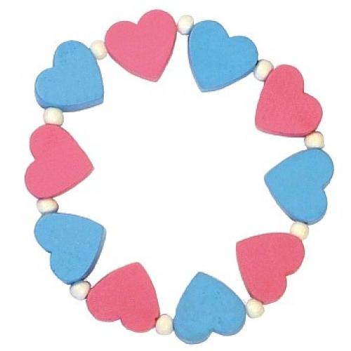 Dětský náramek s růžovými a modrými srdíčky - Cena : 50,- Kč s dph