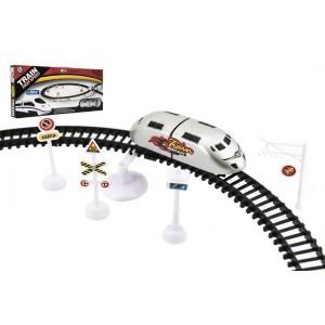 Vlak plast s kolejemi 370cm s doplňky na baterie v krabici 44,5x20x5cm - Cena : 199,- Kč s dph