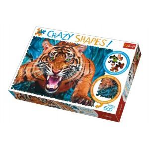 Puzzle Tváří v Tvář Tygrovi 600 dílků Crazy Shapes 68x48cm v krabici 40x27x6cm - Cena : 159,- Kč s dph